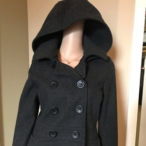 American Rag Hooded Pea Coat Gray Size Small